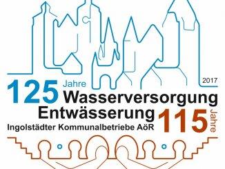 Jubiläumslogo für 125 Jahre Wasserversorgung und 115 Jahre Entwässerung in Ingolstadt