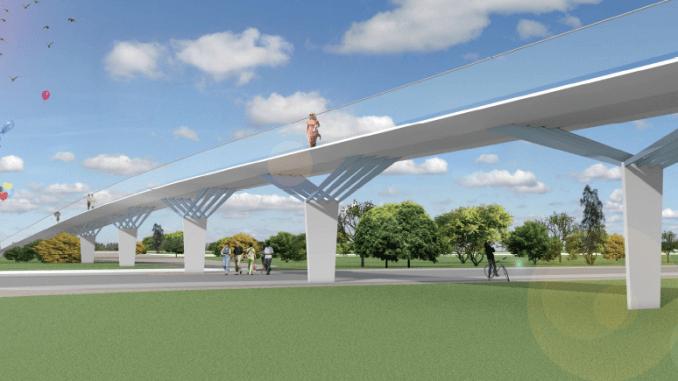 Entwurf für den Fußgängersteg der Landesgartenschau Ingolstadt 2020